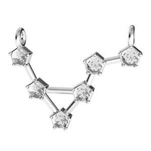 Aquarius zodiac pendant crystals base*sterling silver 925*ODL-00637 15x19,5 mm