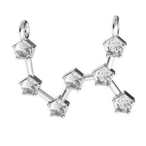 Scorpion zodiac pendant crystals base*sterling silver 925*ODL-00656 17x18,5 mm
