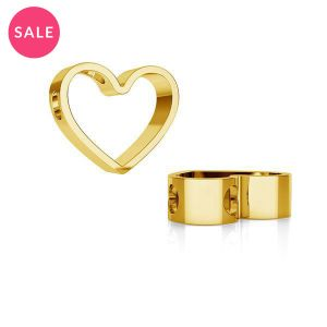 Gold plated heart pendant, sterling silver 925, ODL-00236 11,1x13,3 mm