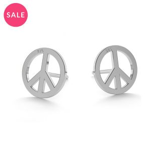 Rhodium plated peace symbol earrings, sterling silver 925, LK-0590 10x10 mm