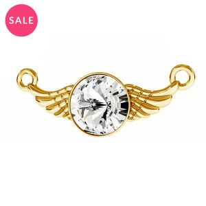 Gold plated wing connector pendant with crystal, sterling silver 925, ODL-00310 11X26,5 mm ver.2
