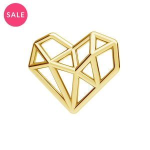 Gold plated origami heart pendant, sterling silver 925, ODL-00299 13,5x15,5 mm