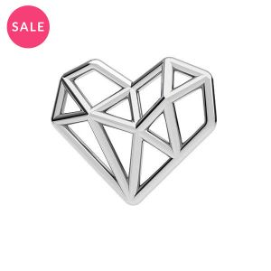 Rhodium plated origami heart pendant, sterling silver 925, ODL-00299 13,5x15,5 mm